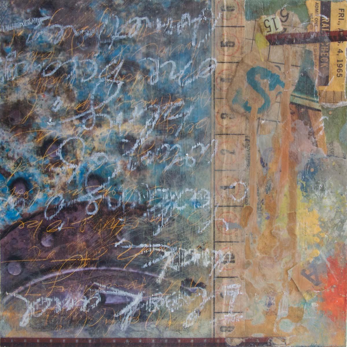 "A Pair of Eyes Walking, 2012, mixed media on wood, 8"" x 8"""