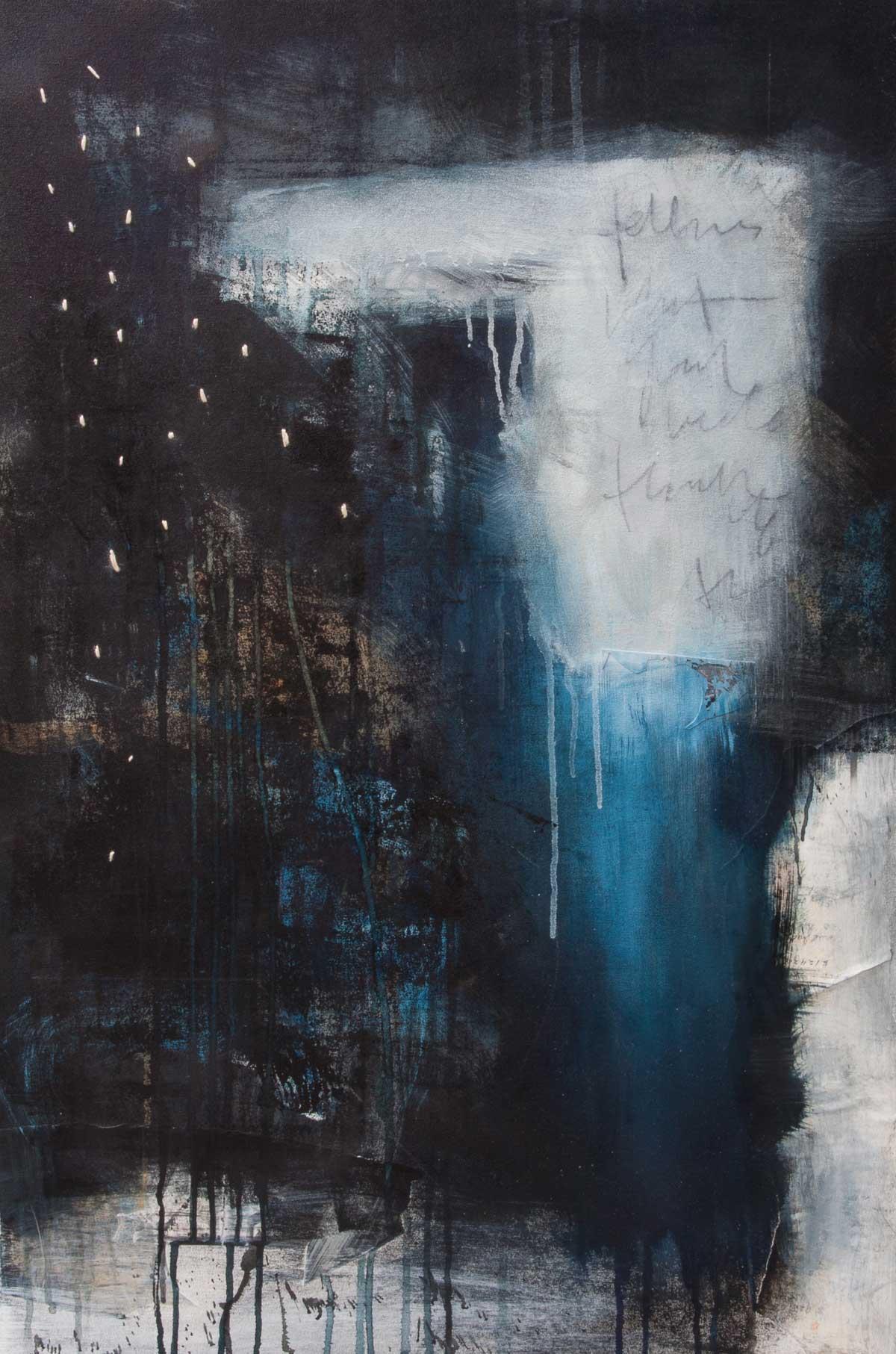 "Hinterland, 2015, mixed media on canvas, 24"" x 36"""