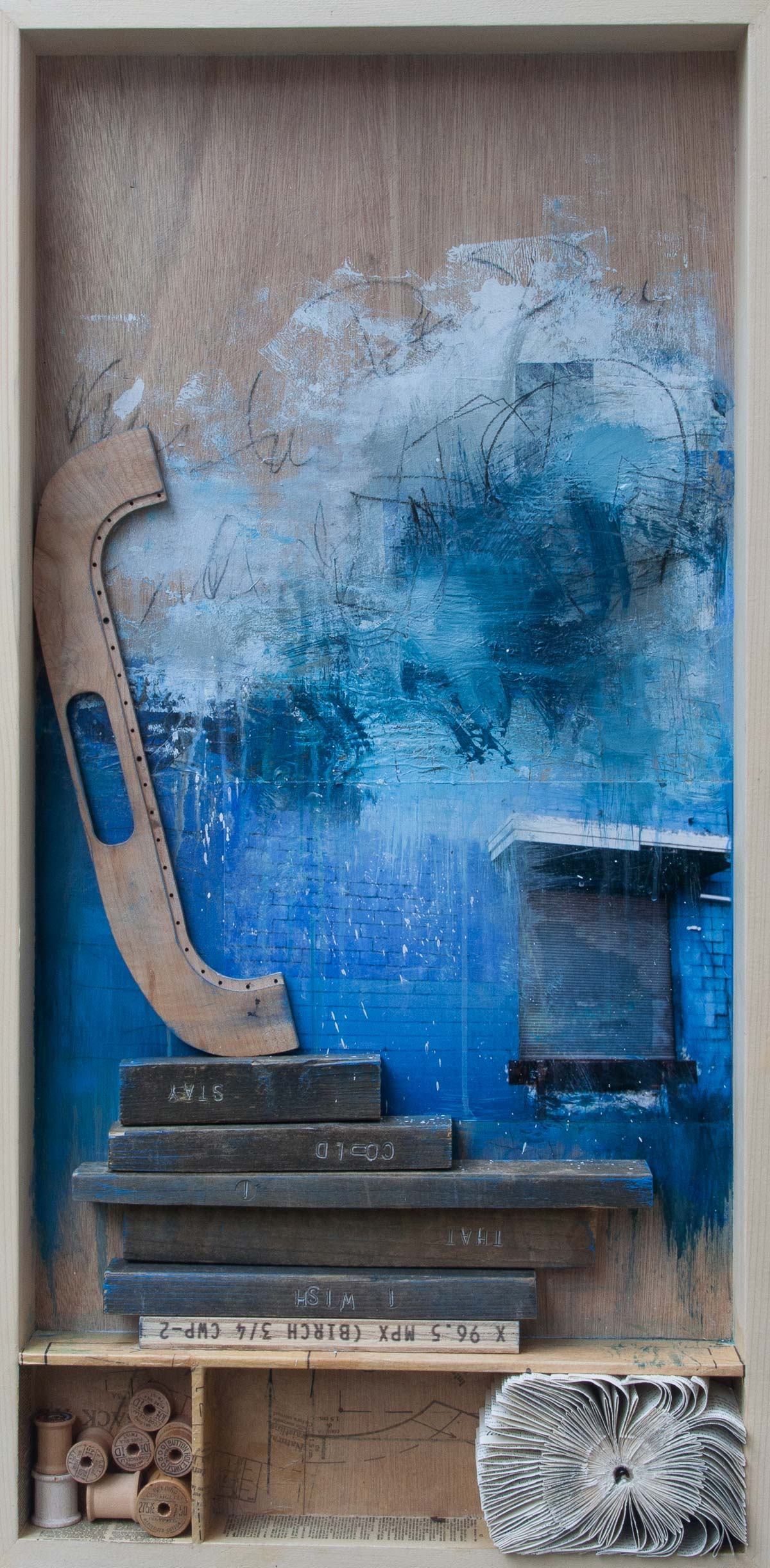 """I Wish That I Could Stay, 2015, mixed media on wood, 18"""" x 36"""""""