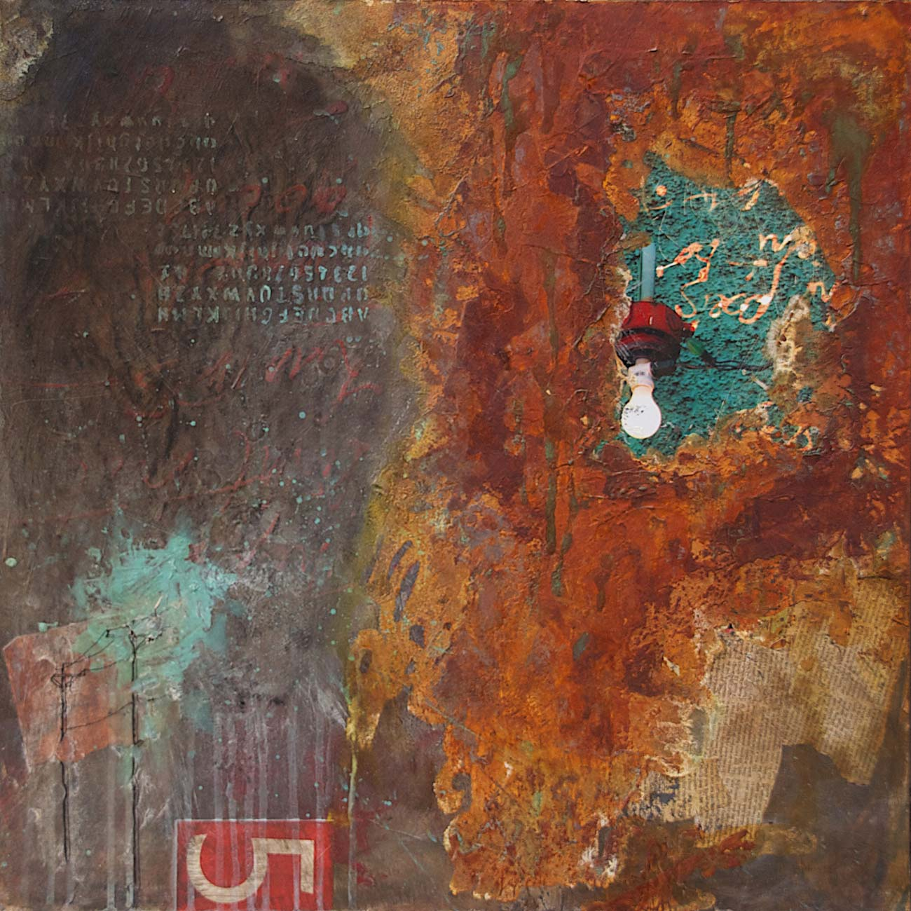 "Lit by Poets, 2012, mixed media on wood, 24"" x 24"", SOLD"