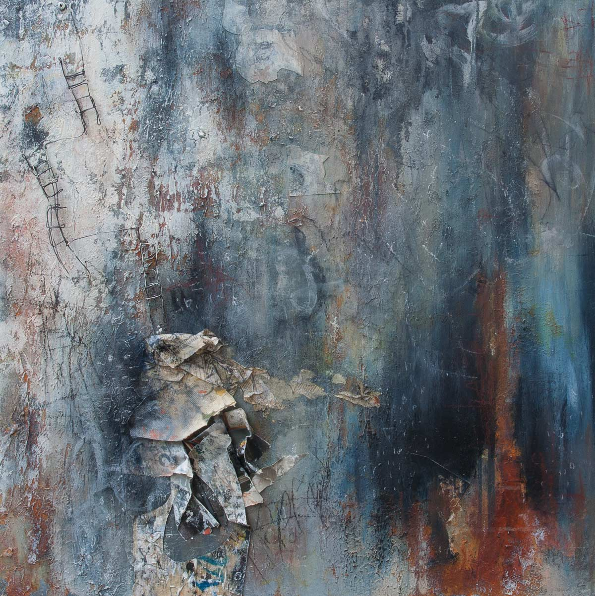 "Tempered Thoughts, 2015, mixed media on wood, 24"" x 24"""
