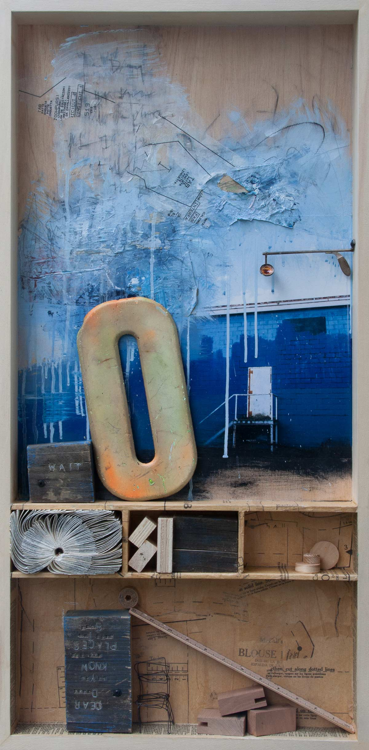 "Missed Messages, 2015, mixed media on wood, 18"" x 36"""