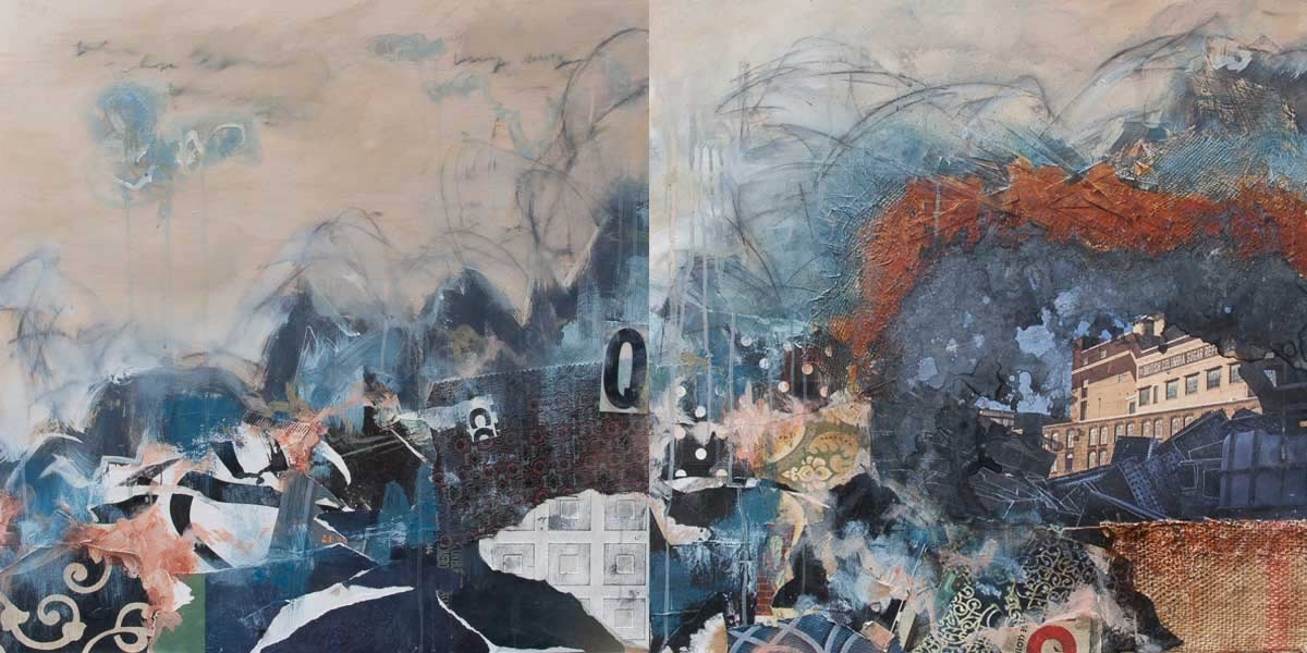 "Lost Fable, 2015, diptych, mixed media on wood, 60"" x 30"""