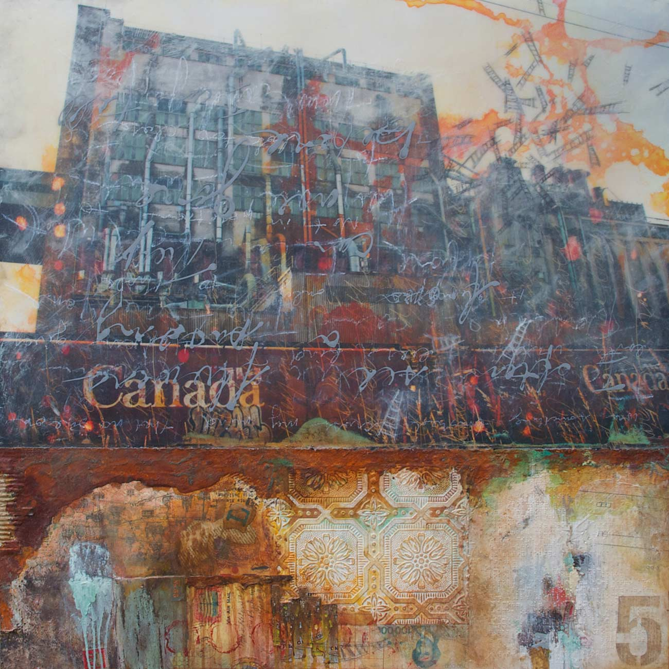 "A Passing Glimpse, 2013, mixed media on wood, 36"" x 36"", SOLD"
